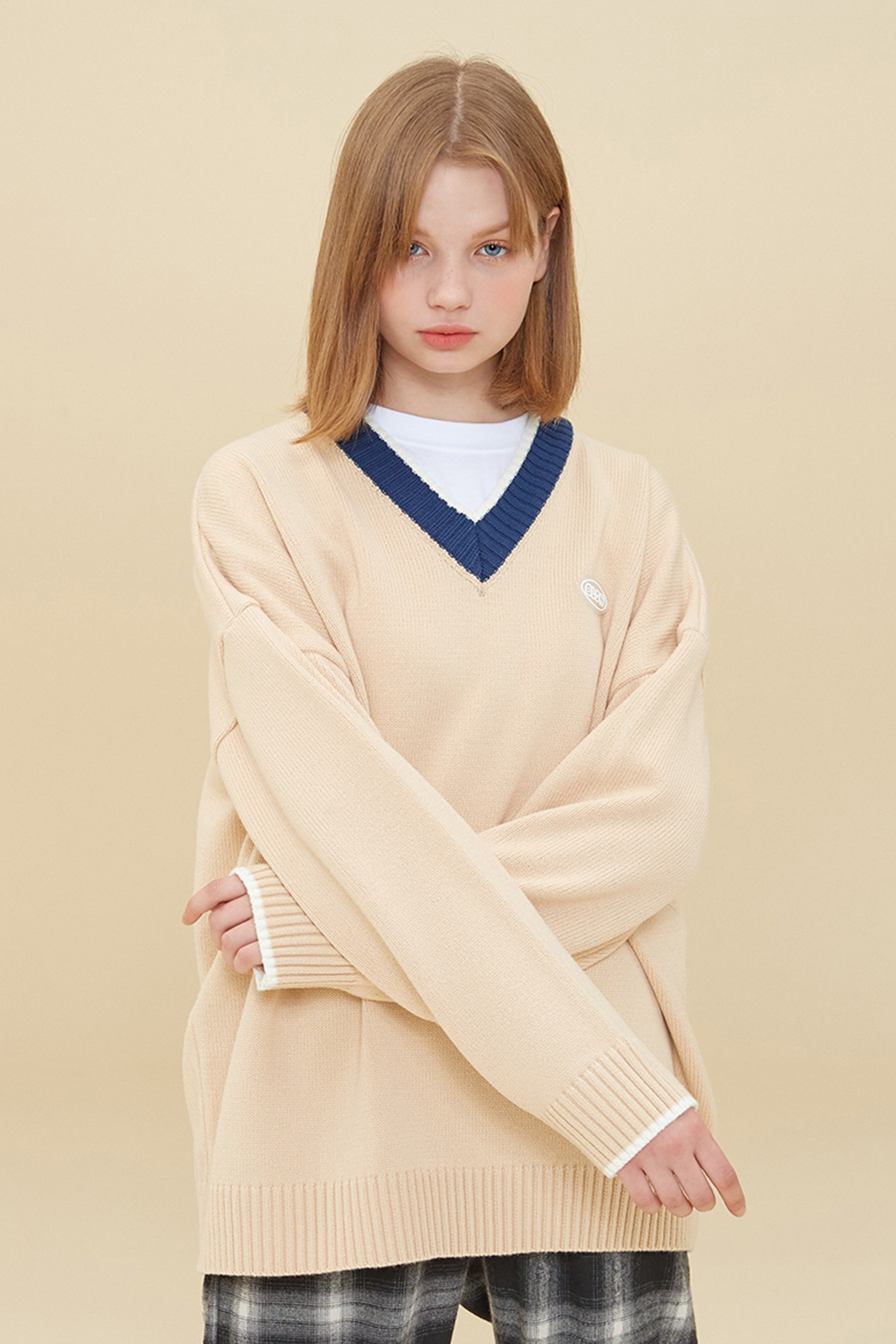 V NECK COLORATION SWEATER_BEIGE