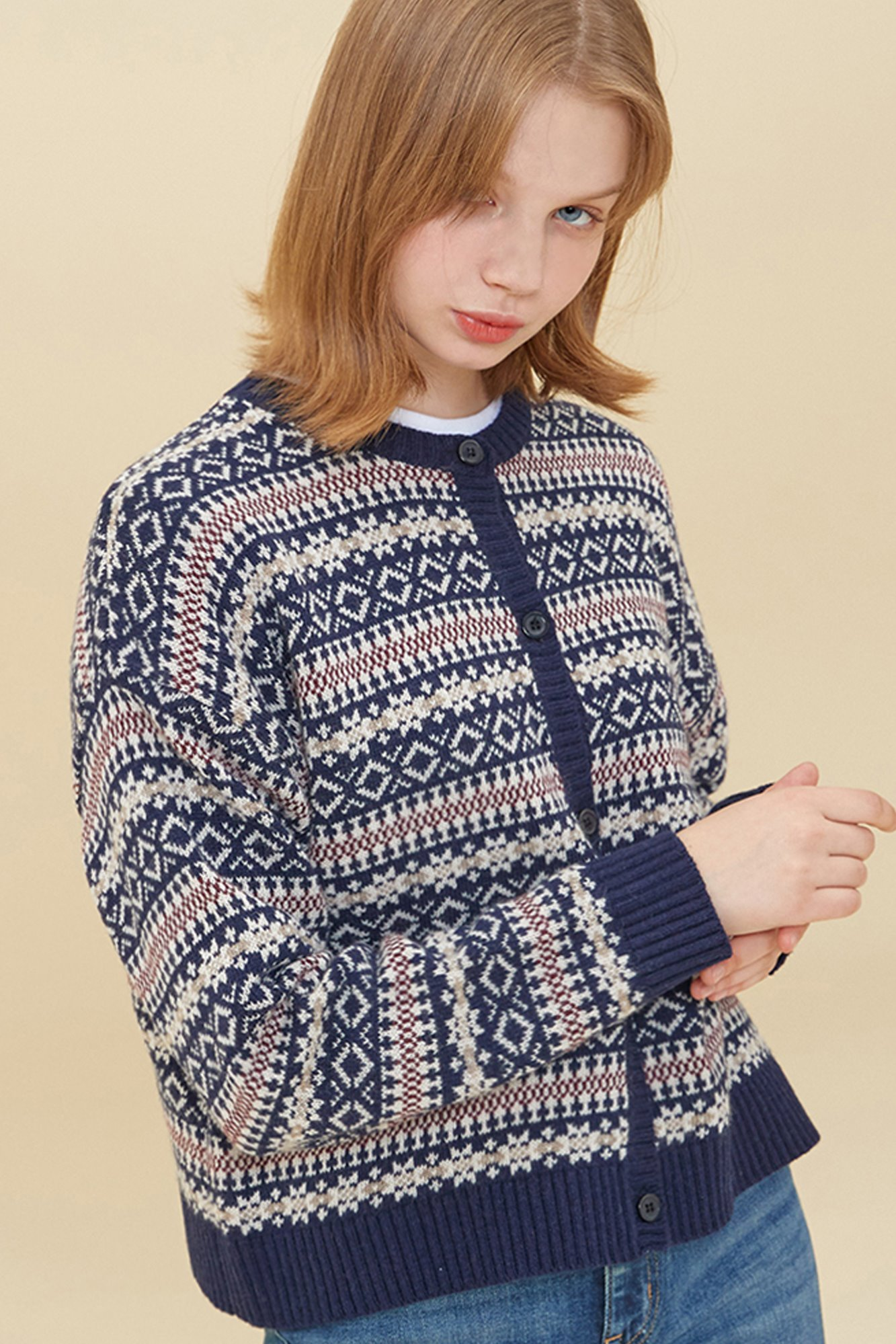 LAMBS WOOL JAQUARD CARDIGAN_NAVY