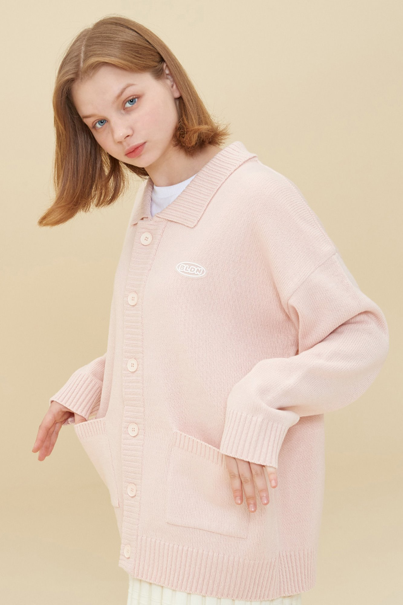 COLLAR KNIT CARDIGAN_PITCH PINK