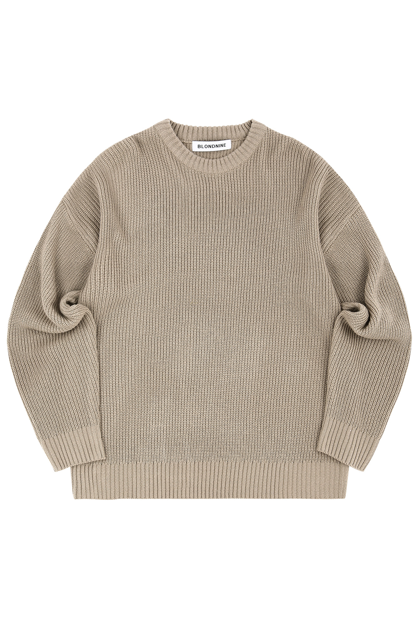 CREW NECK RIB KNIT SWEATER_MOCHA