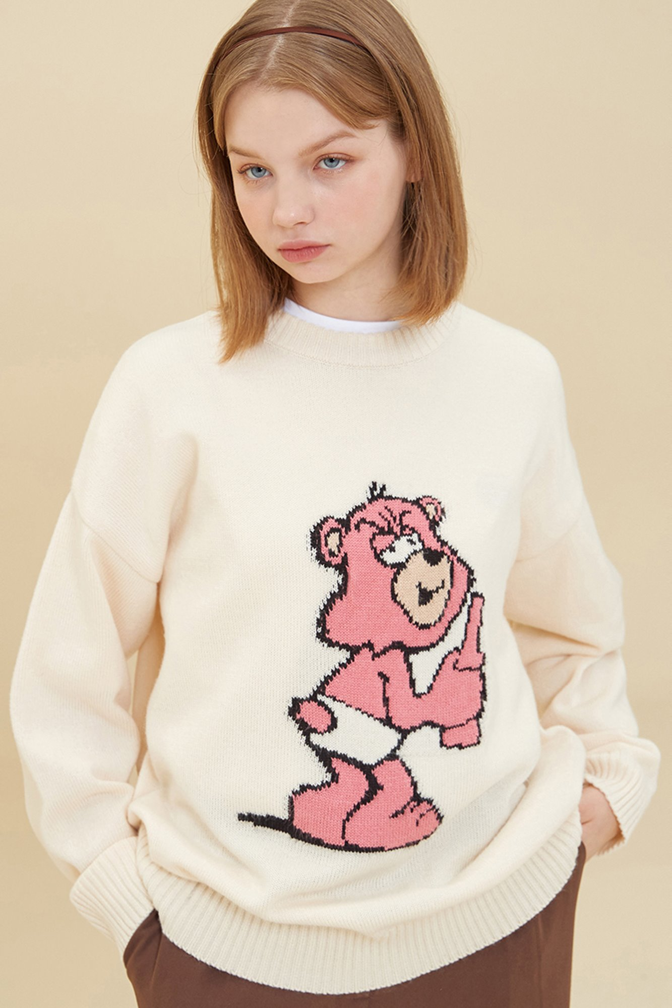 PINK GRUMPY BEAR SWEATER_IVORY