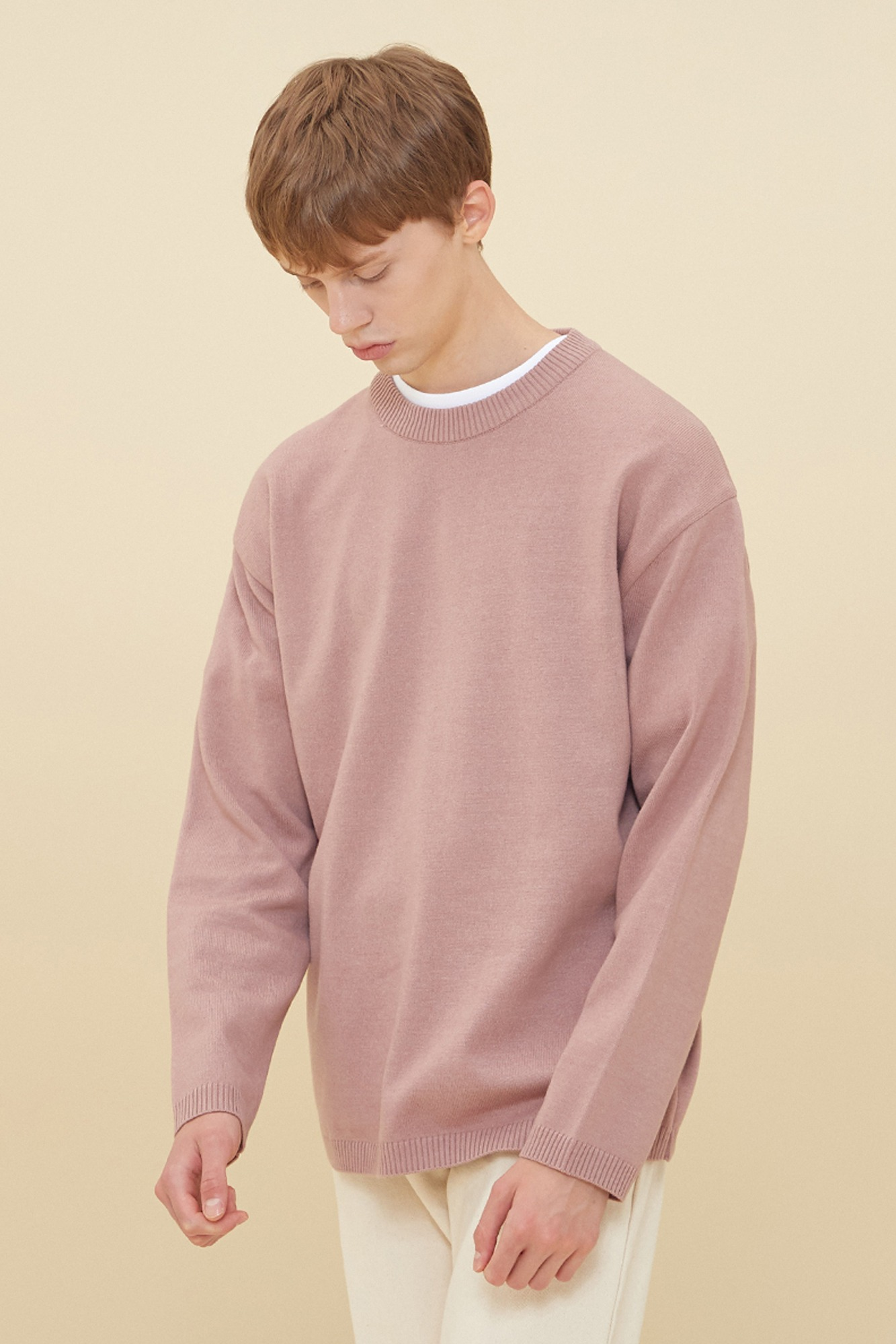 SEMI OVER-FIT ROUND NECK SWEATER_INDIE PINK
