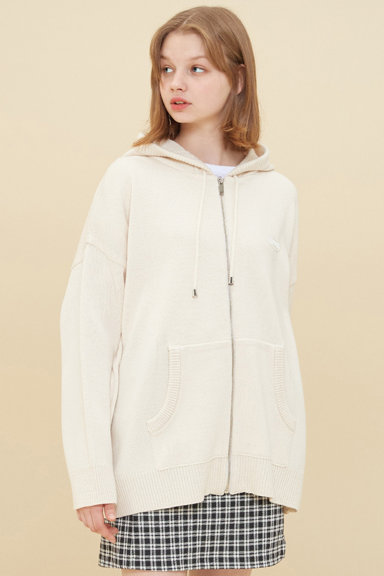 KNIT HOOD ZIP-UP_IVORY