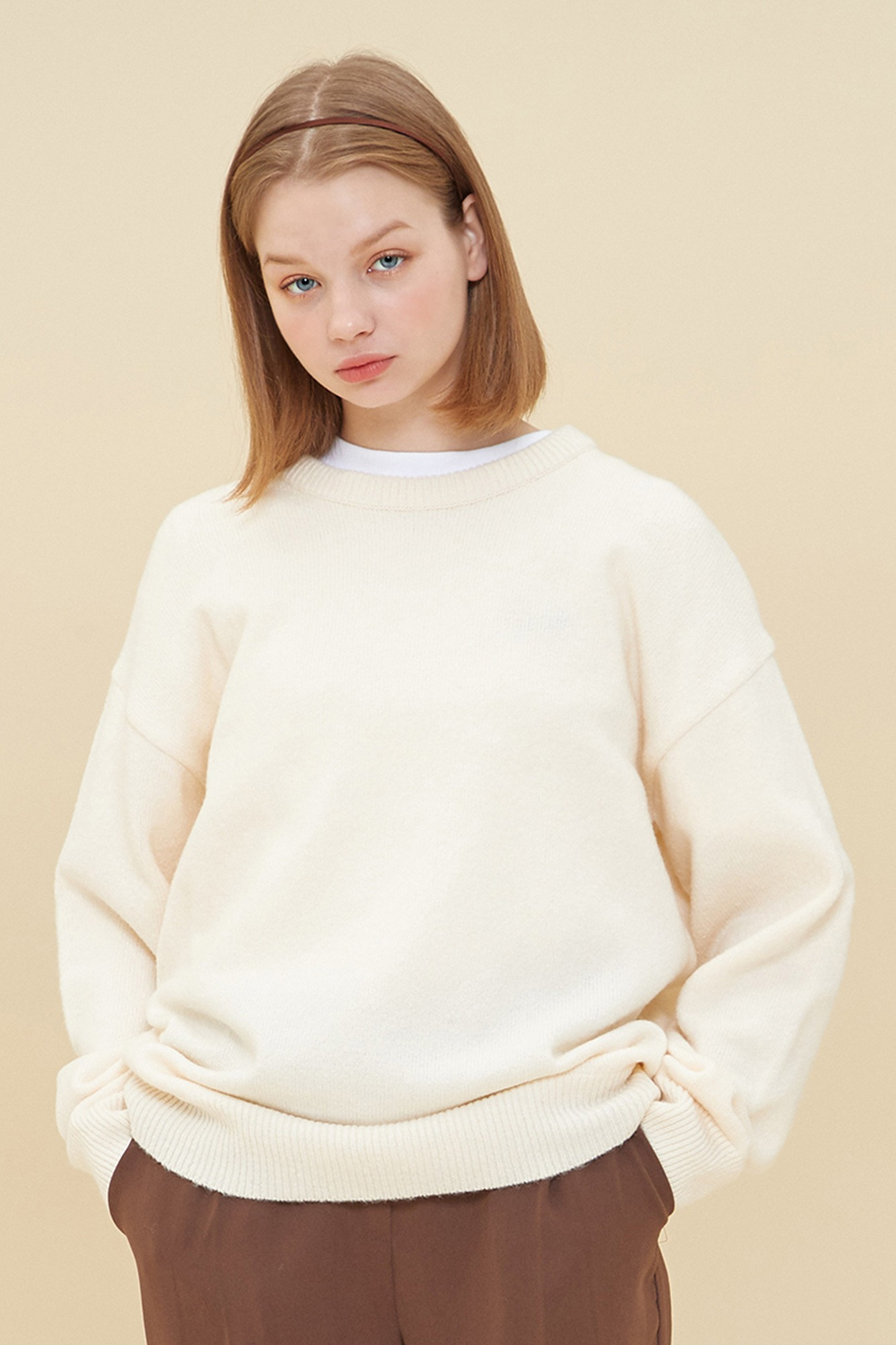 MELANGE ROUND NECK SWEATER_IVORY