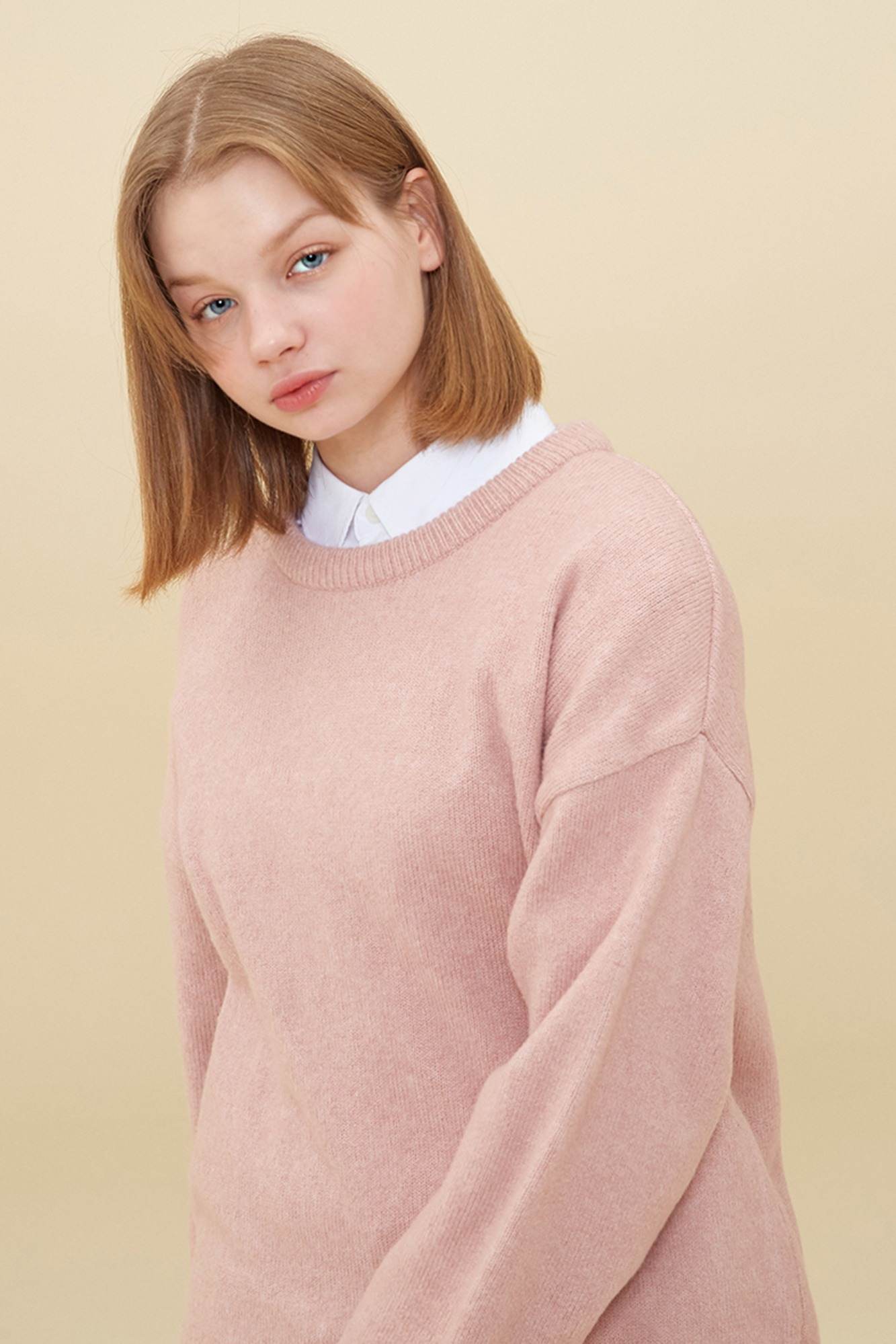 MELANGE ROUND NECK SWEATER_PINK