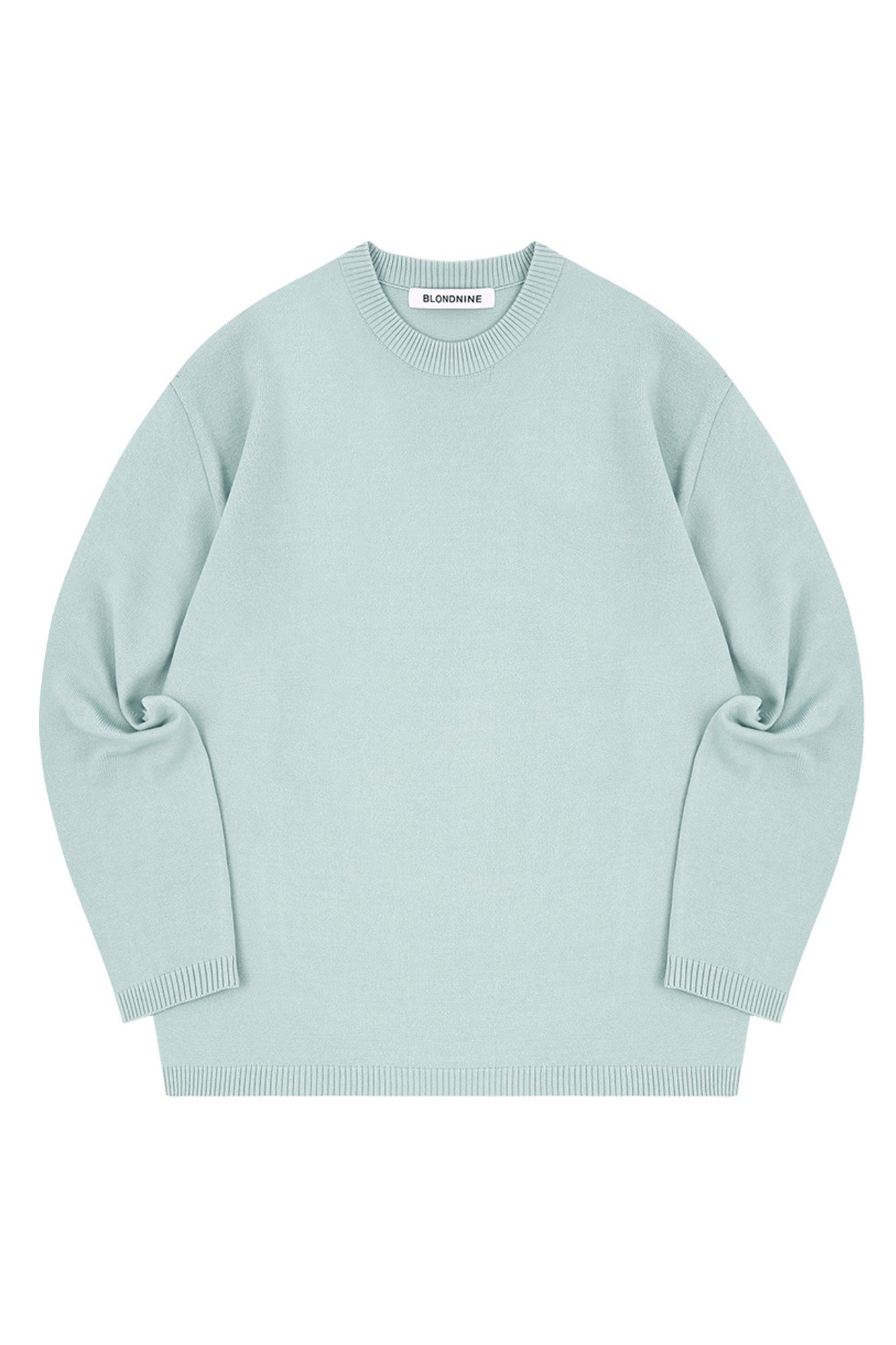 SEMI OVER-FIT ROUND NECK SWEATER_MINT