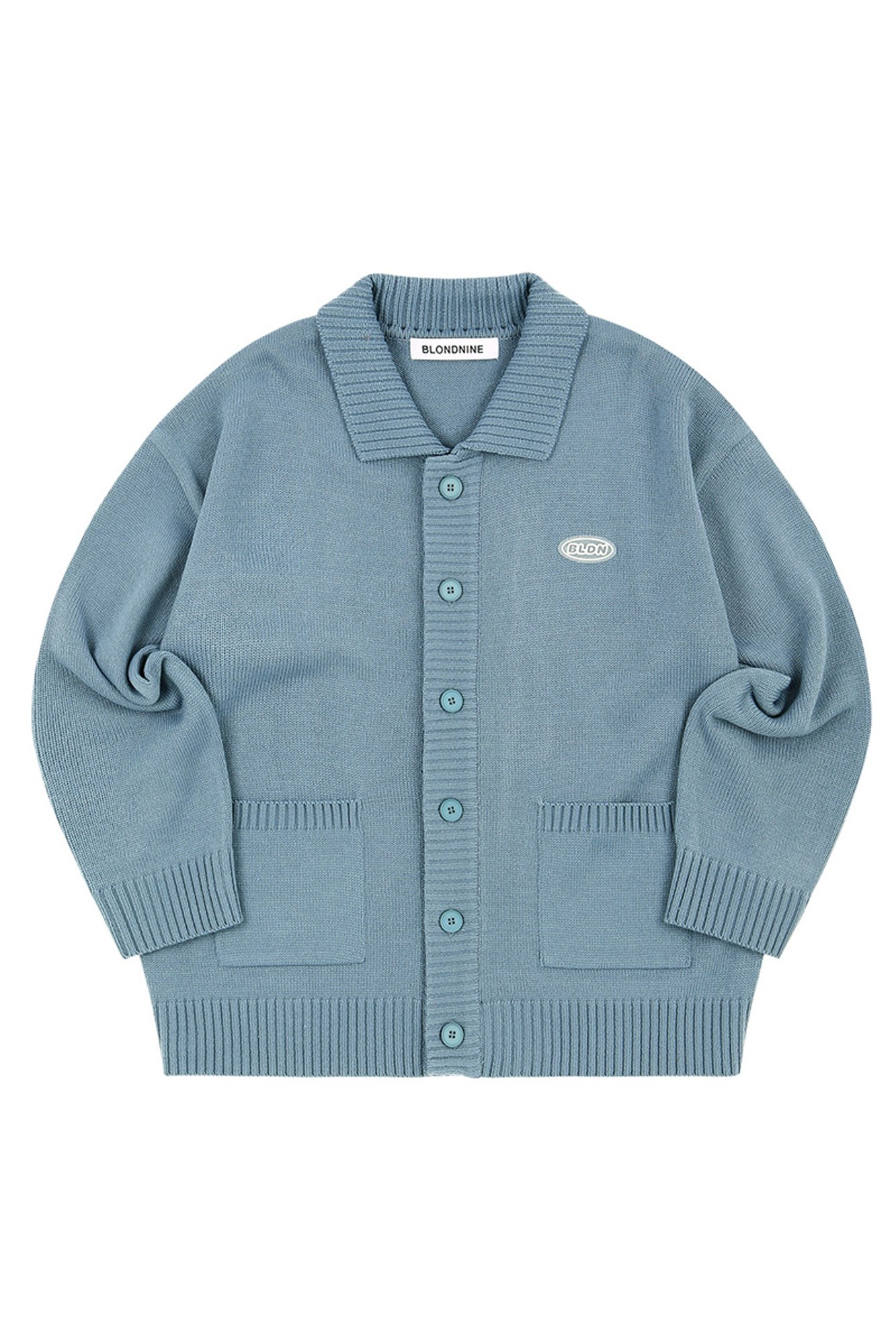 COLLAR KNIT CARDIGAN_BLUE