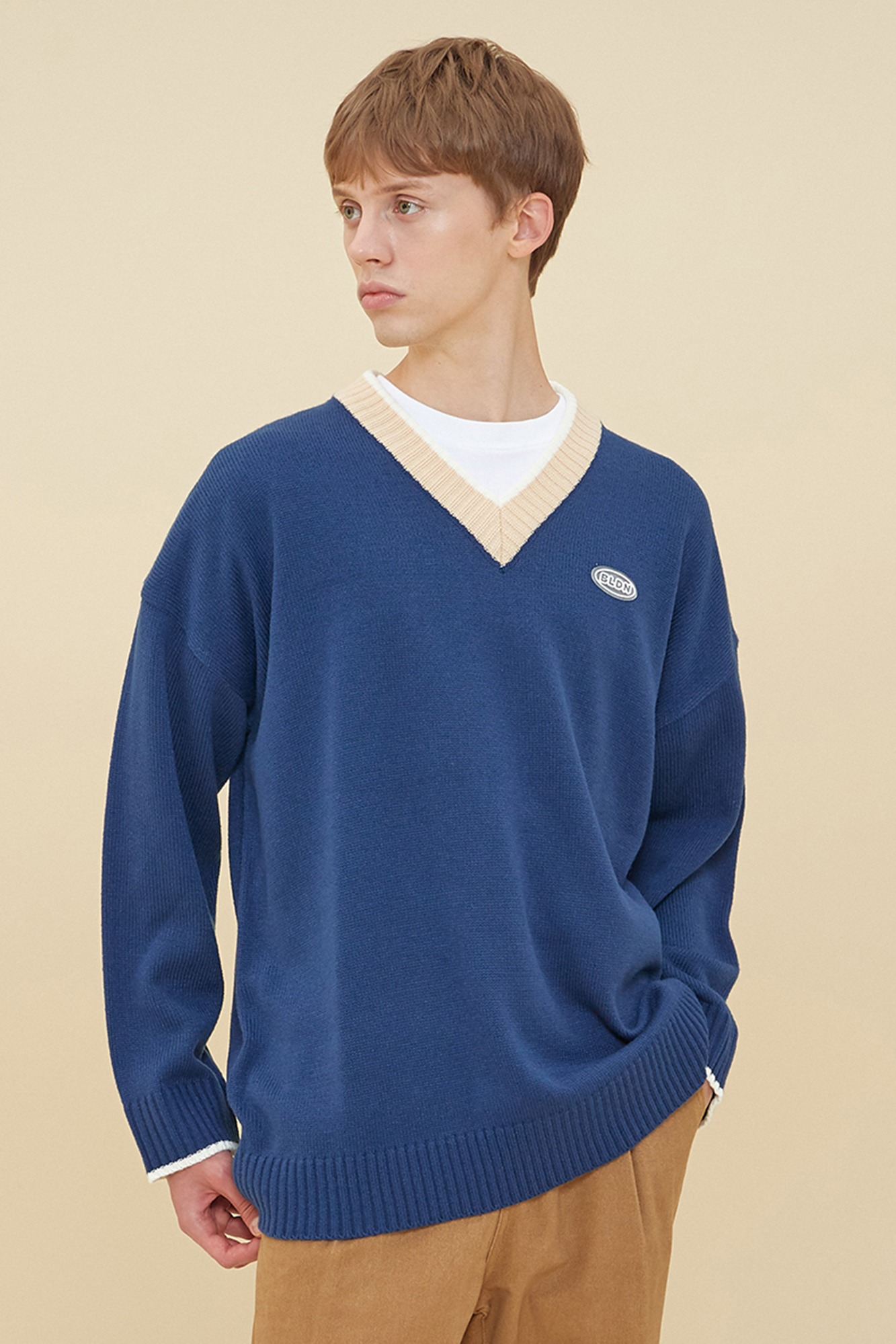 V NECK COLORATION SWEATER_DARK BLUE