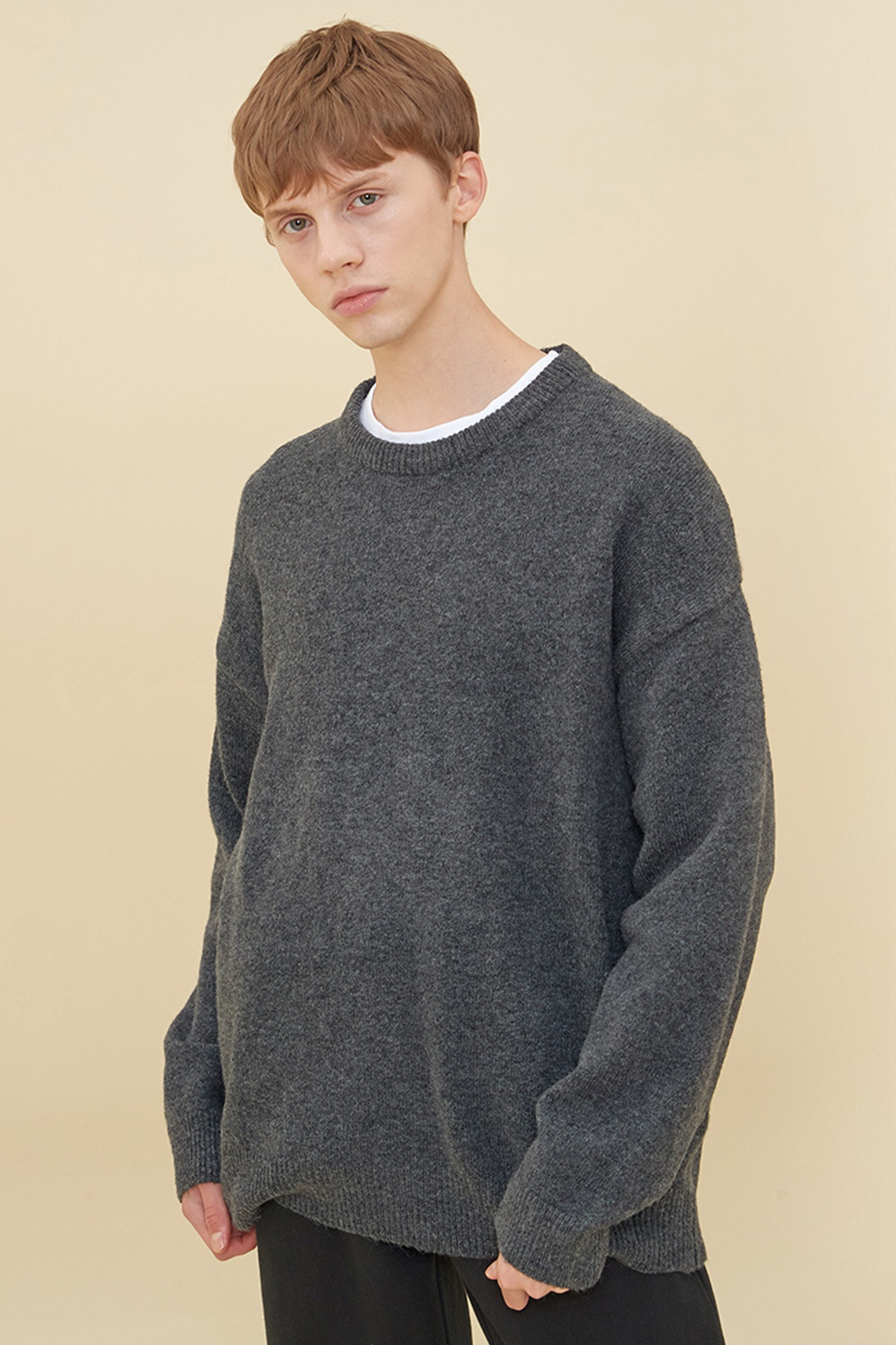 MELANGE ROUND NECK SWEATER_CHARCOAL