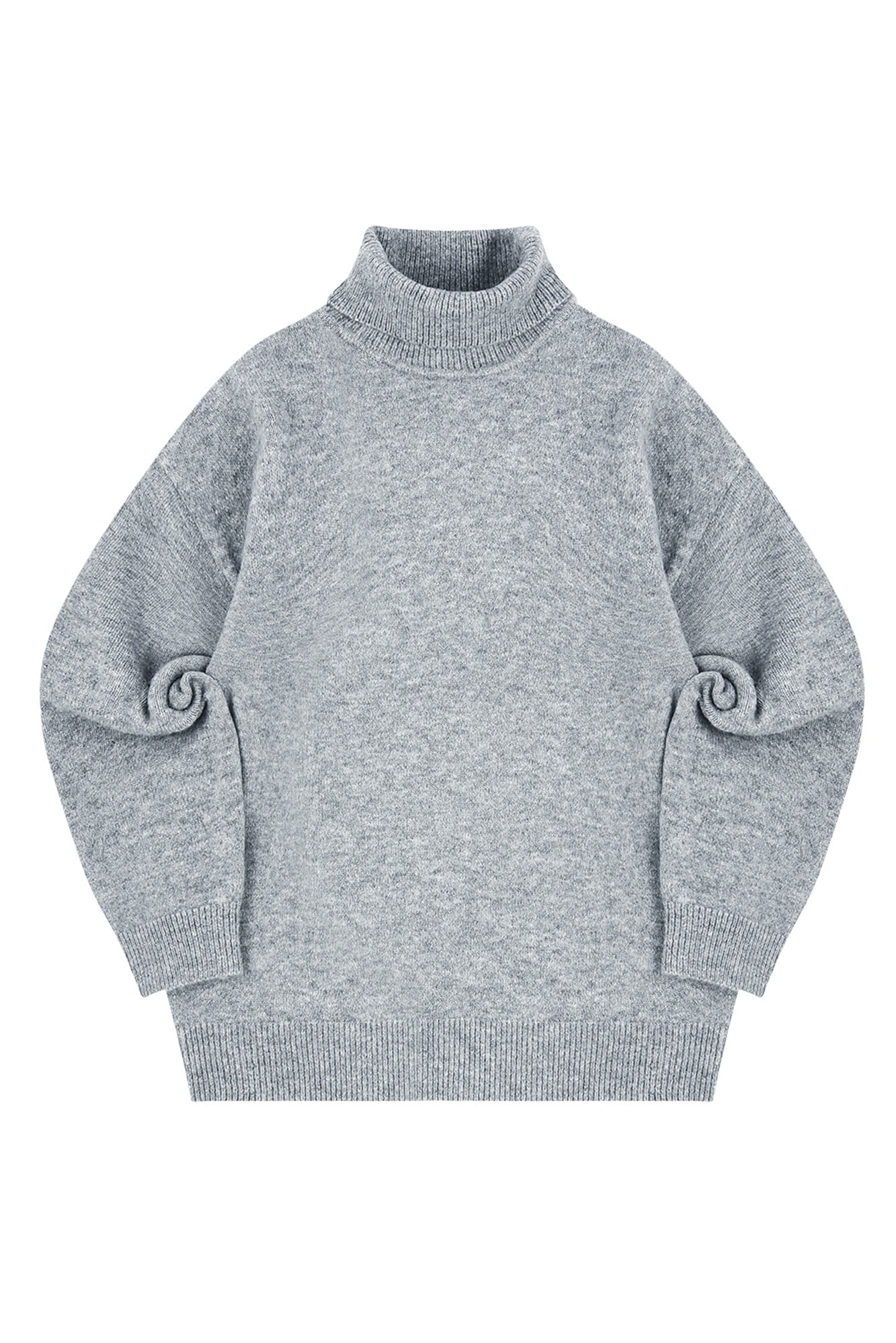 MELANGE TURTLE NECK SWEATER_GRAY