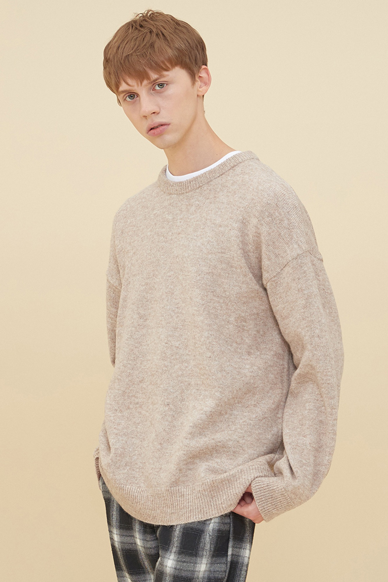 MELANGE ROUND NECK SWEATER_MOCHA
