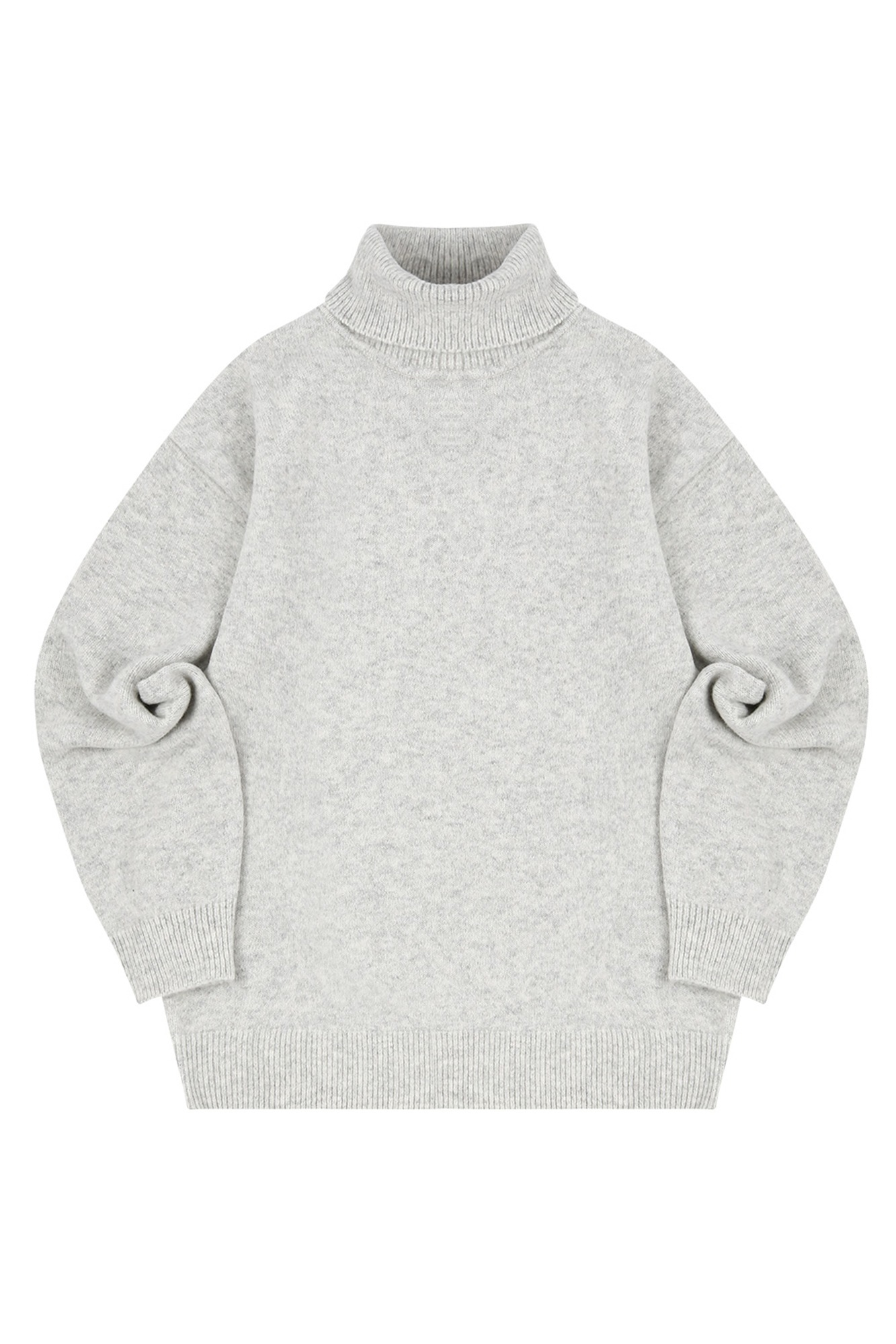 MELANGE TURTLE NECK SWEATER_LIGHT GRAY