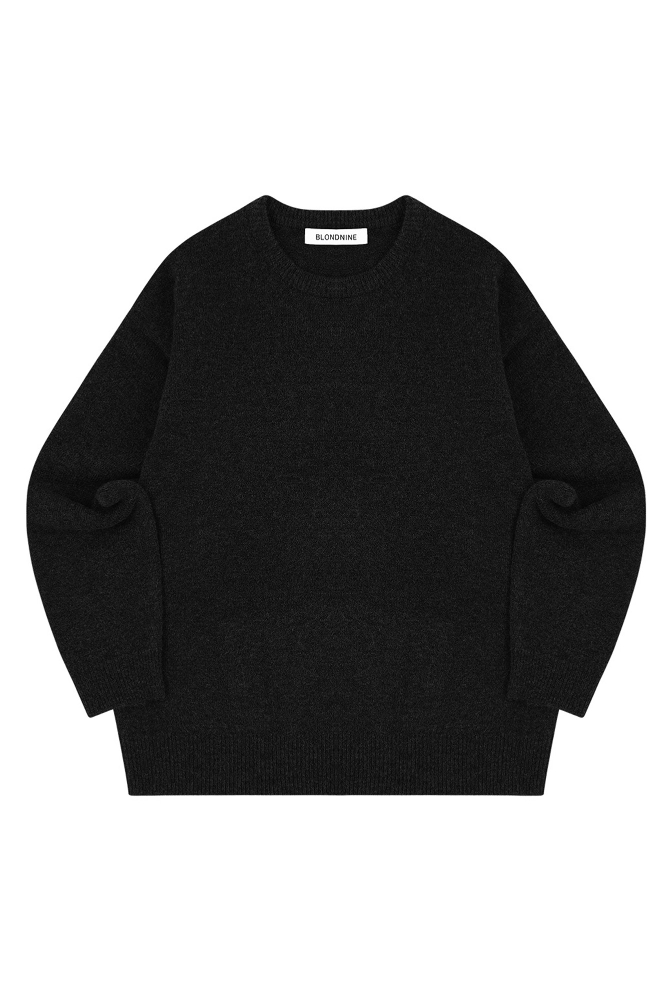 MELANGE ROUND NECK SWEATER_BLACK