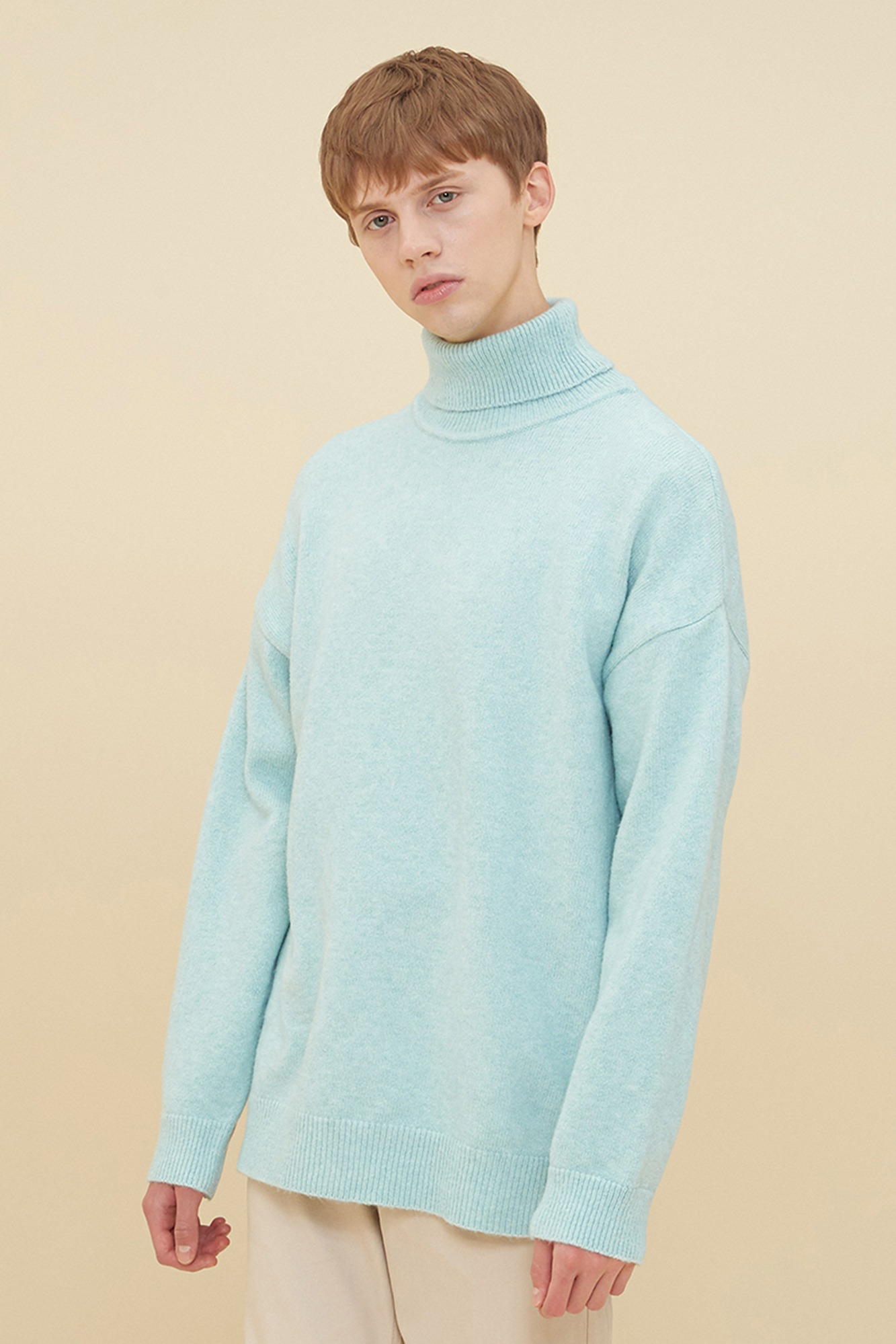 MELANGE TURTLE NECK SWEATER_MINT