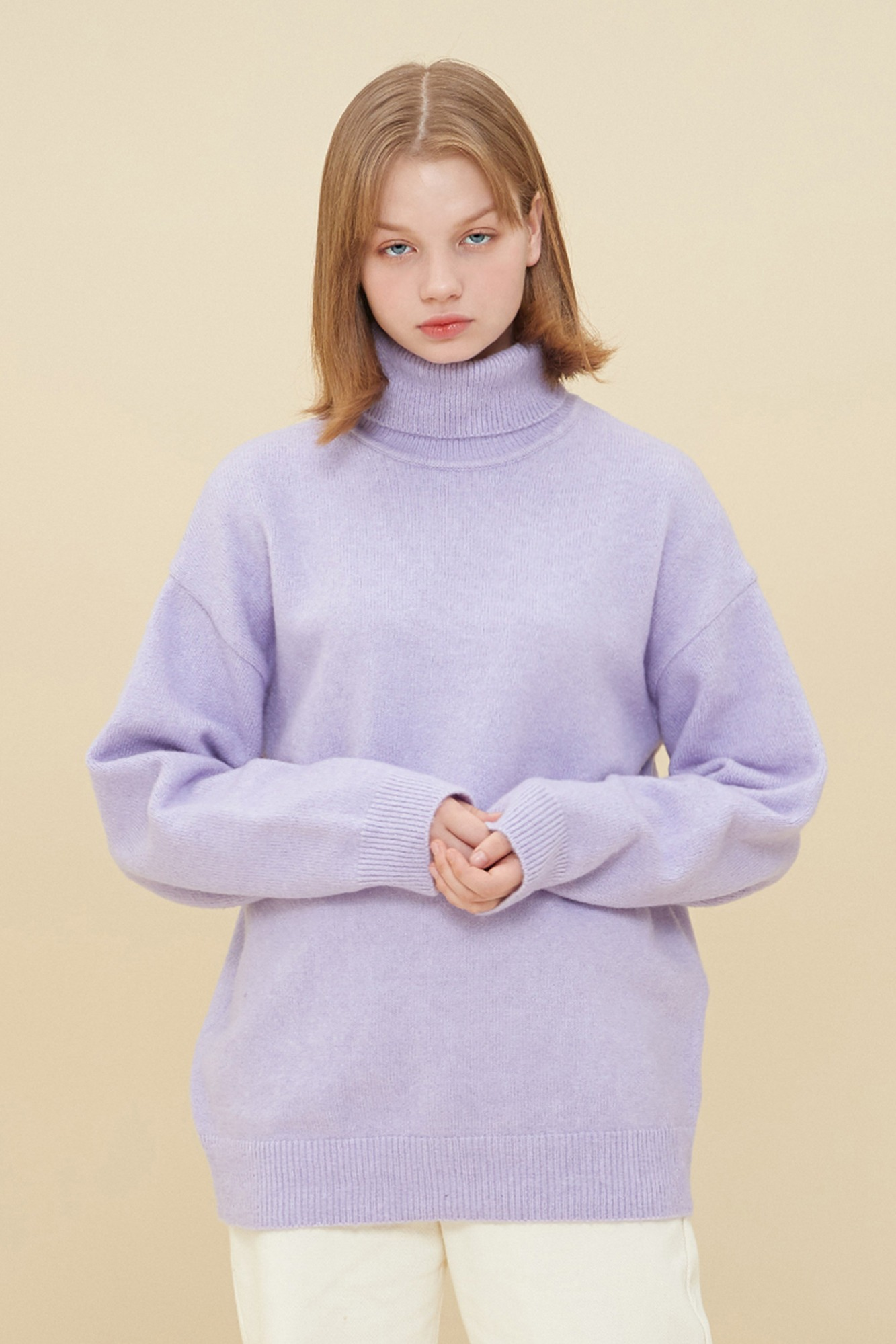 MELANGE TURTLE NECK SWEATER_PURPLE
