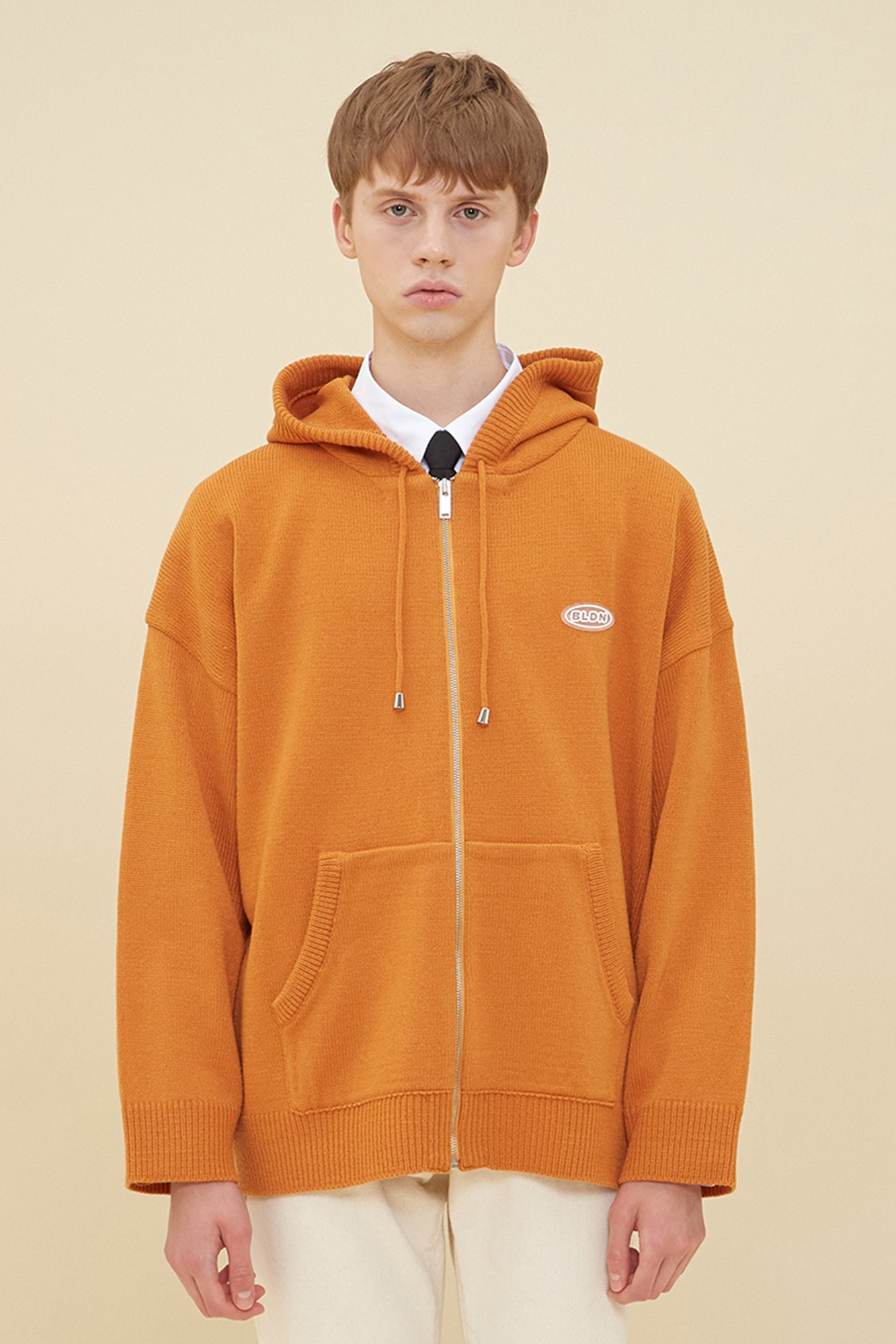 KNIT HOOD ZIP-UP_ORANGE