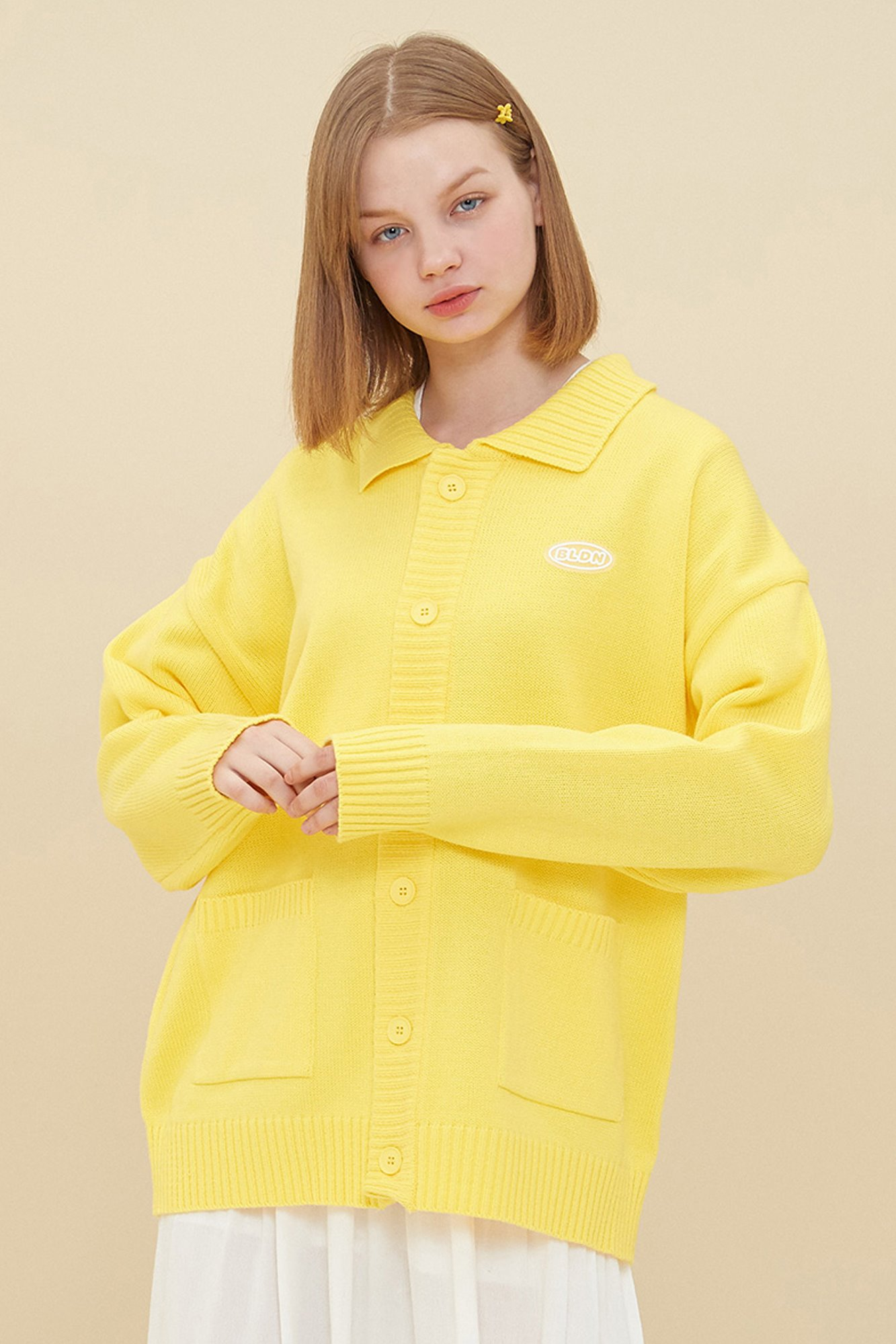 COLLAR KNIT CARDIGAN_YELLOW