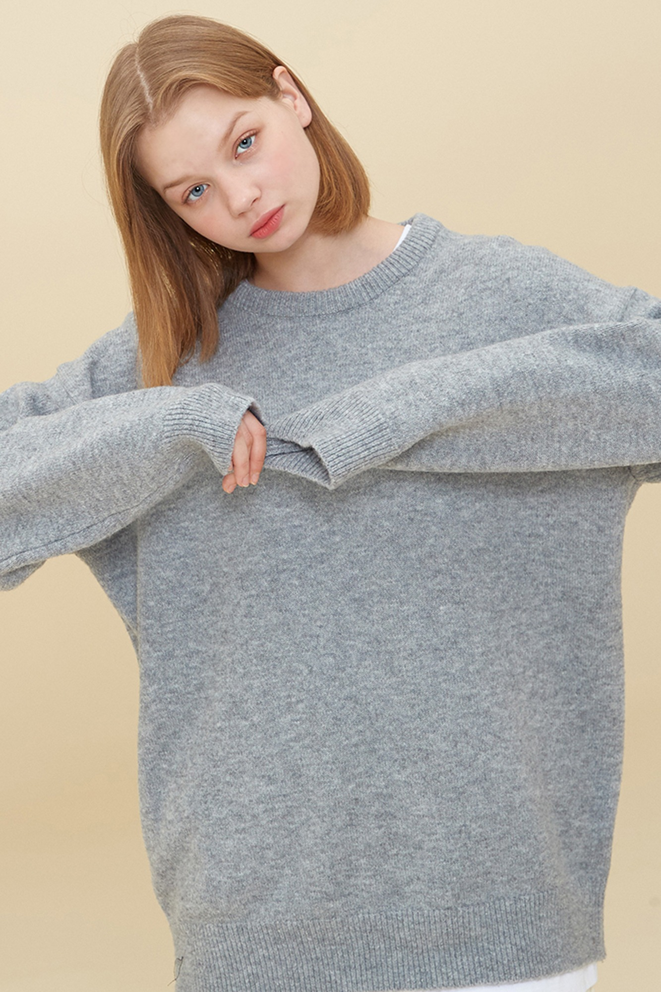 MELANGE ROUND NECK SWEATER_GRAY