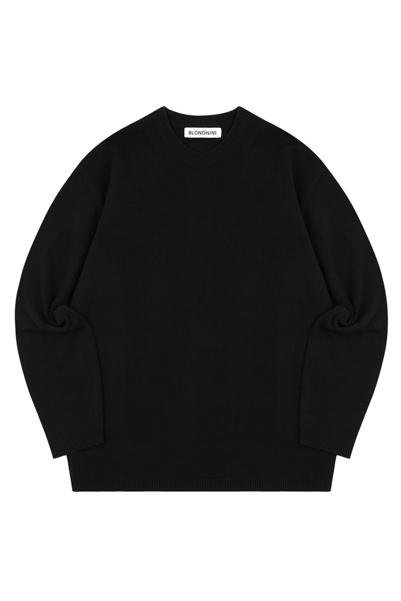 SEMI OVER-FIT ROUND NECK SWEATER_BLACK