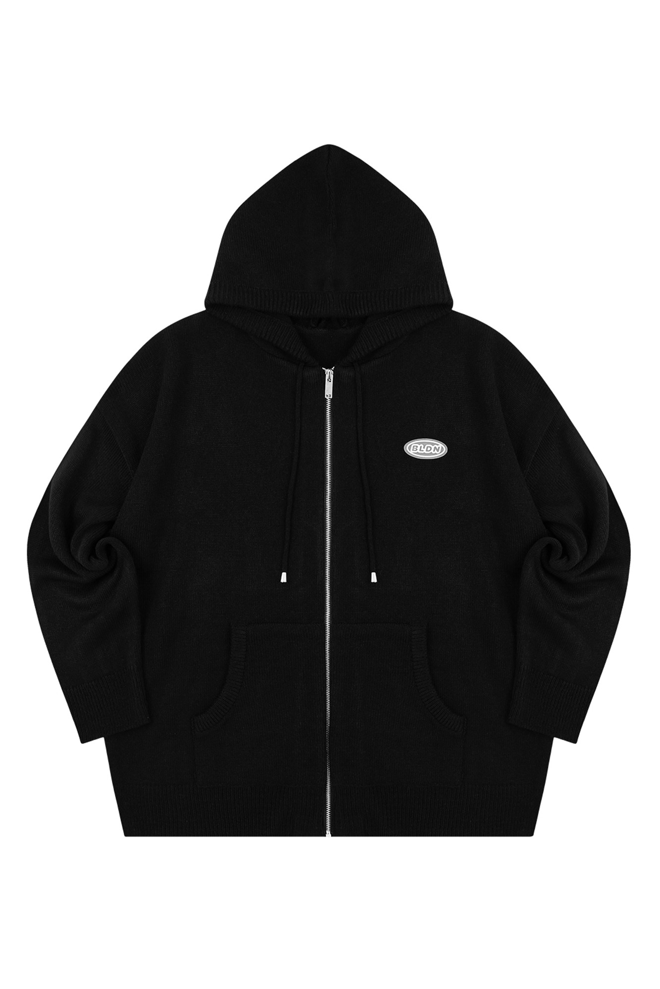 KNIT HOOD ZIP-UP_BLACK