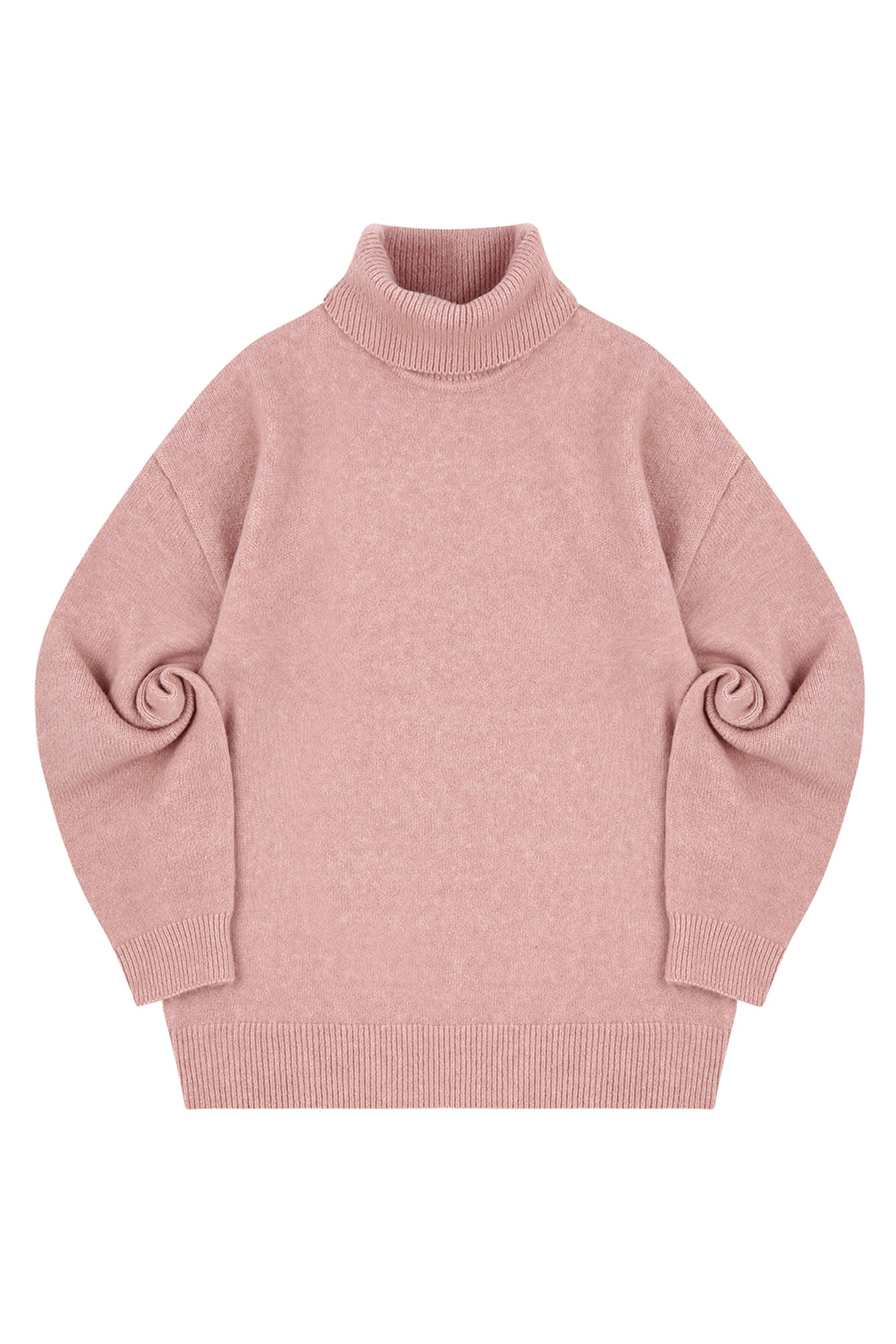 MELANGE TURTLE NECK SWEATER_PINK