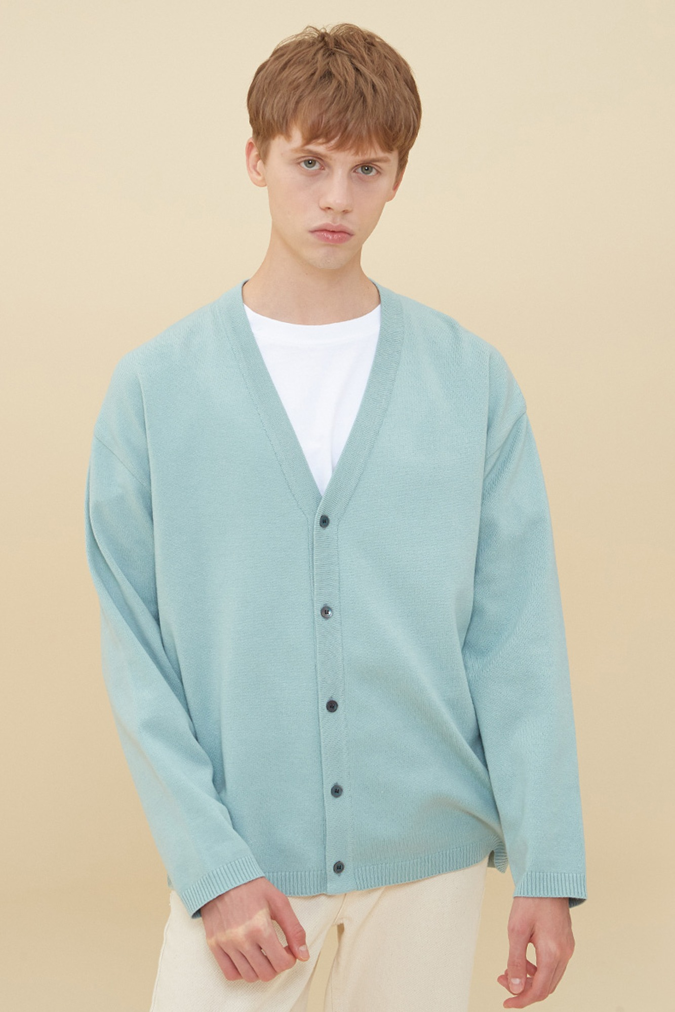 SEMI OVER-FIT V NECK CADIGAN_MINT