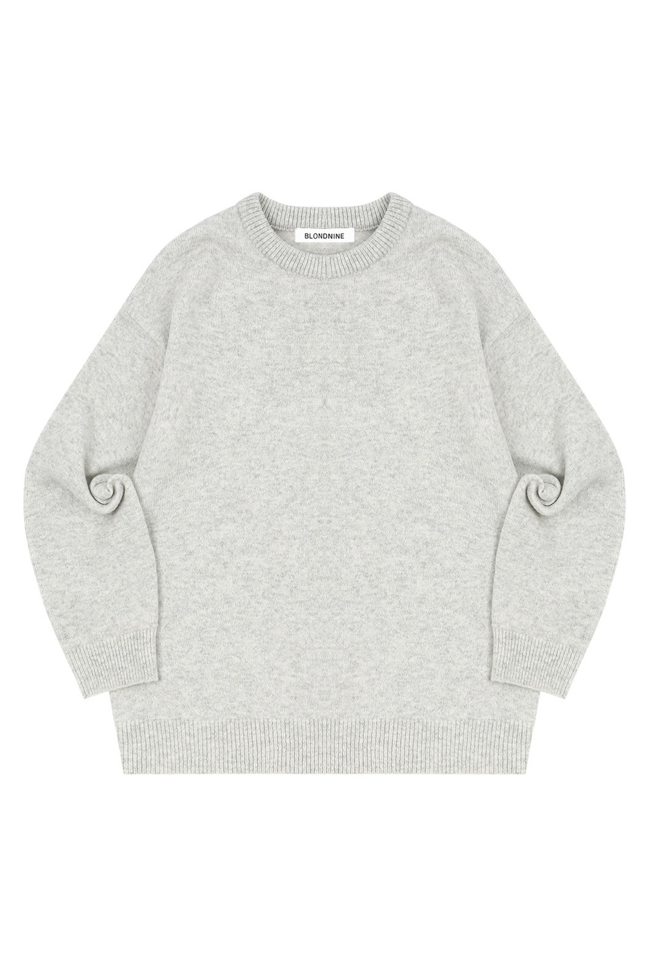 MELANGE ROUND NECK SWEATER_LIGHT GRAY