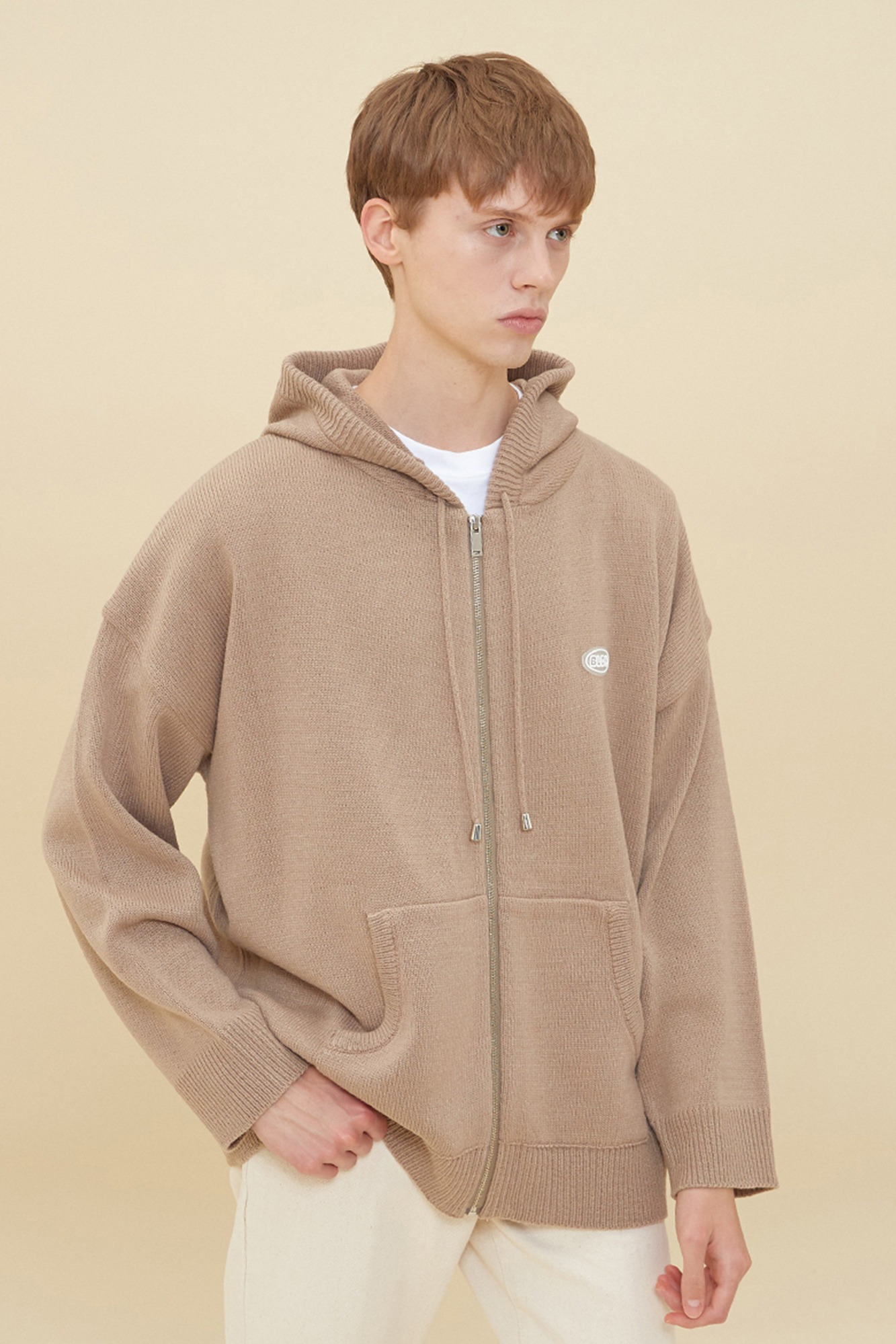 KNIT HOOD ZIP-UP_MOCHA