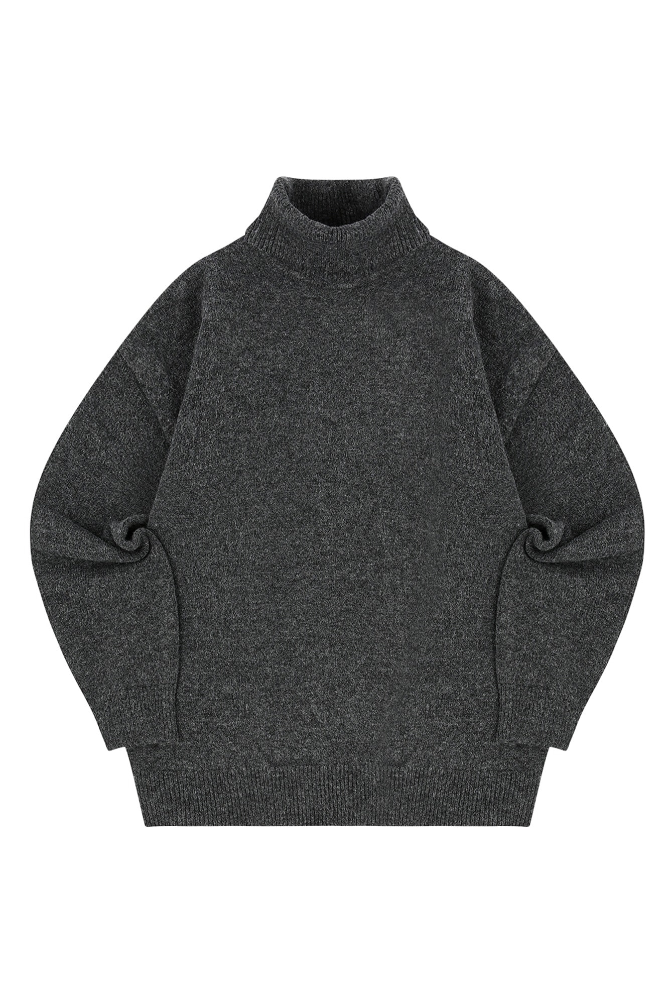 MELANGE TURTLE NECK SWEATER_CHARCOAL