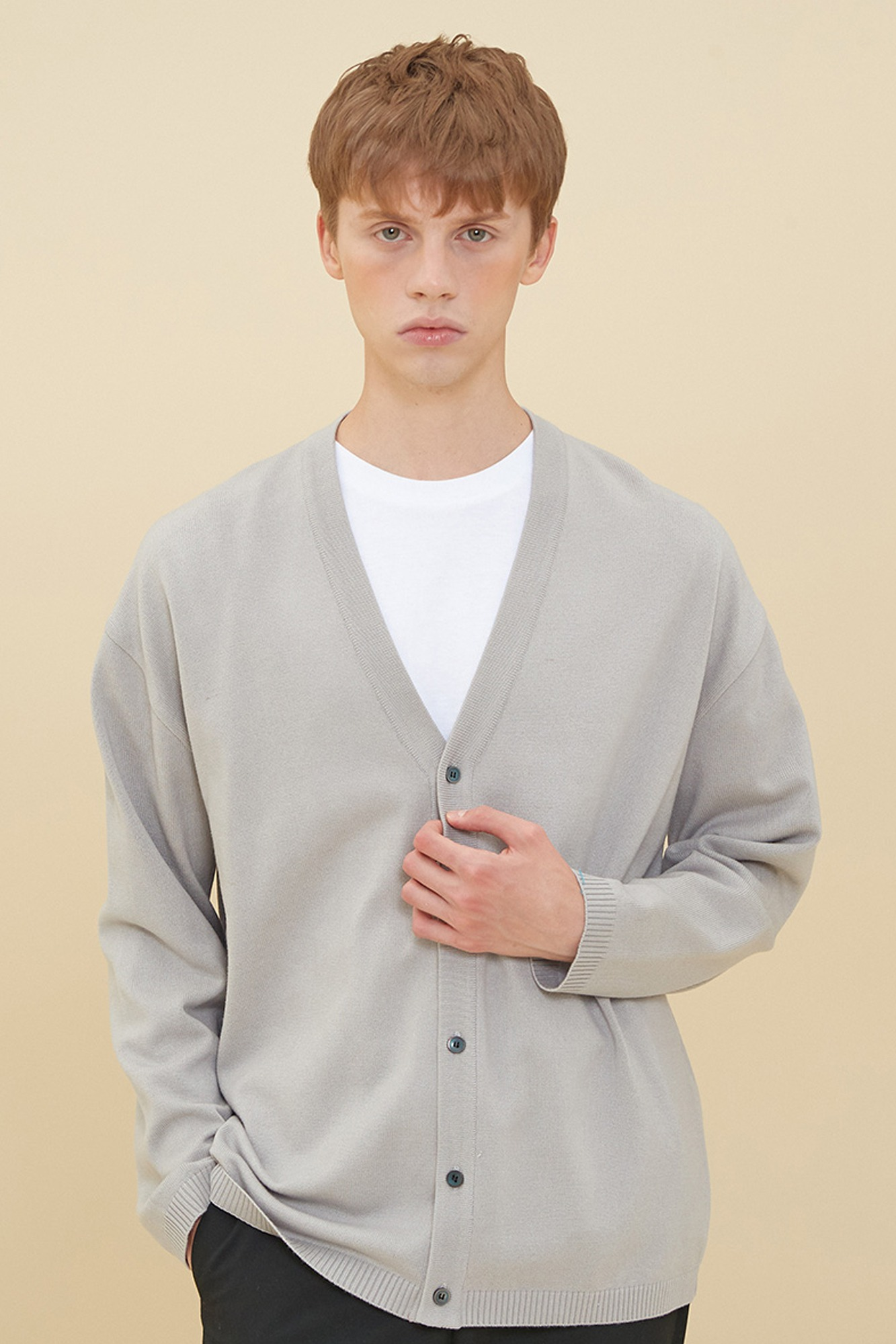 SEMI OVER-FIT V NECK CADIGAN_GRAY