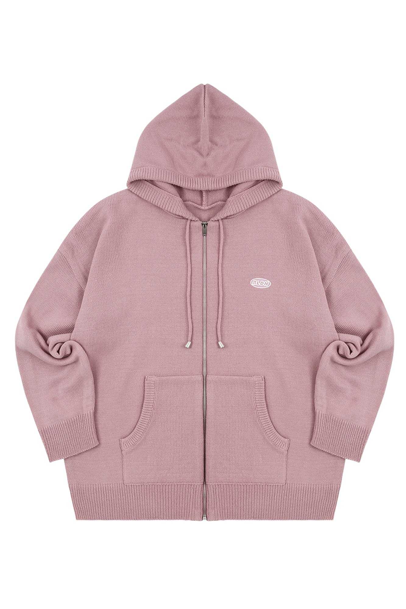 KNIT HOOD ZIP-UP_INDIE PINK