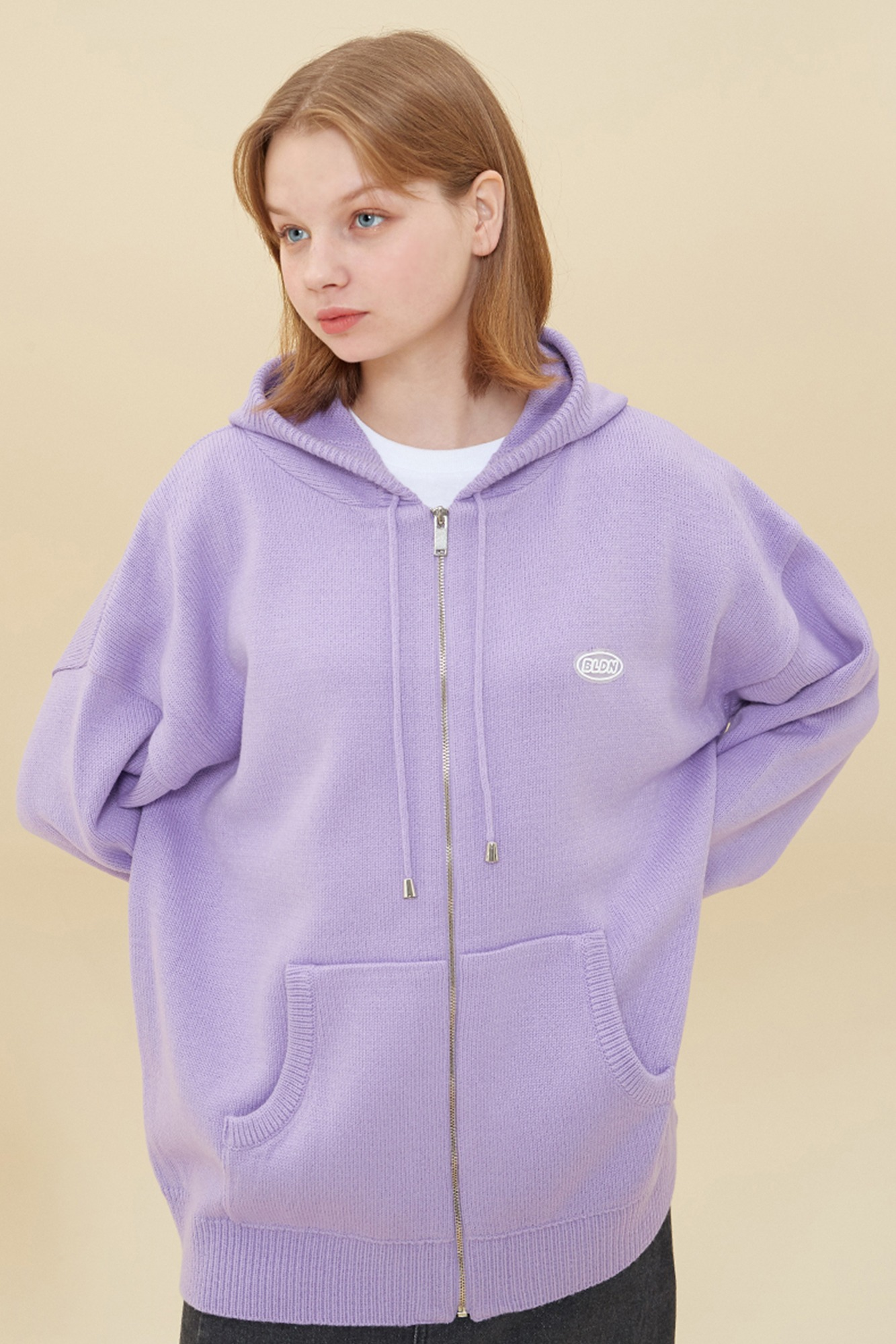 KNIT HOOD ZIP-UP_PURPLE
