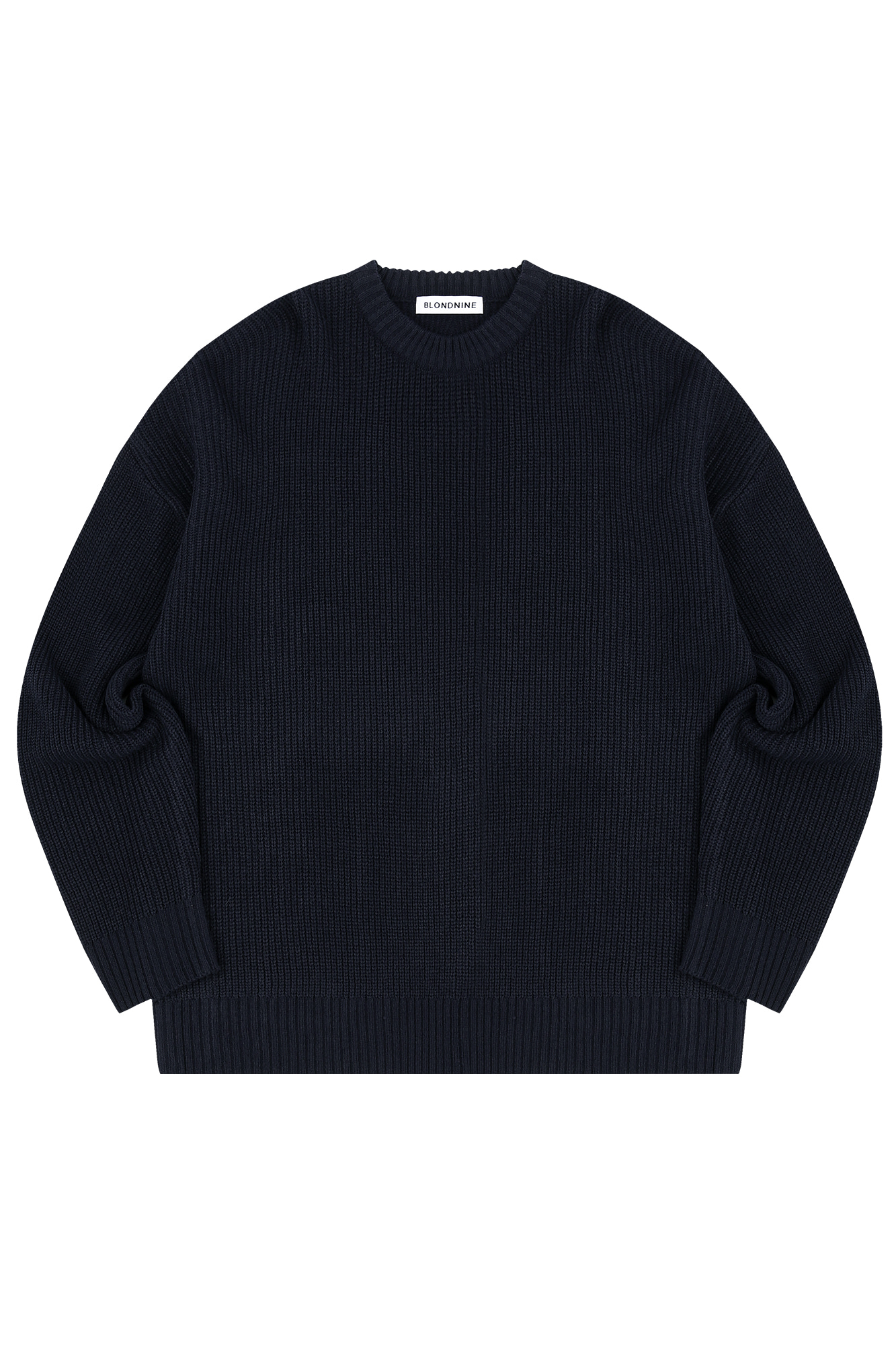 CREW NECK RIB KNIT SWEATER_NAVY