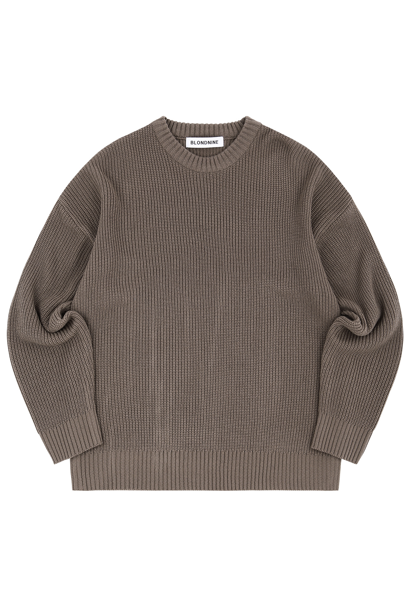 CREW NECK RIB KNIT SWEATER_BROWN