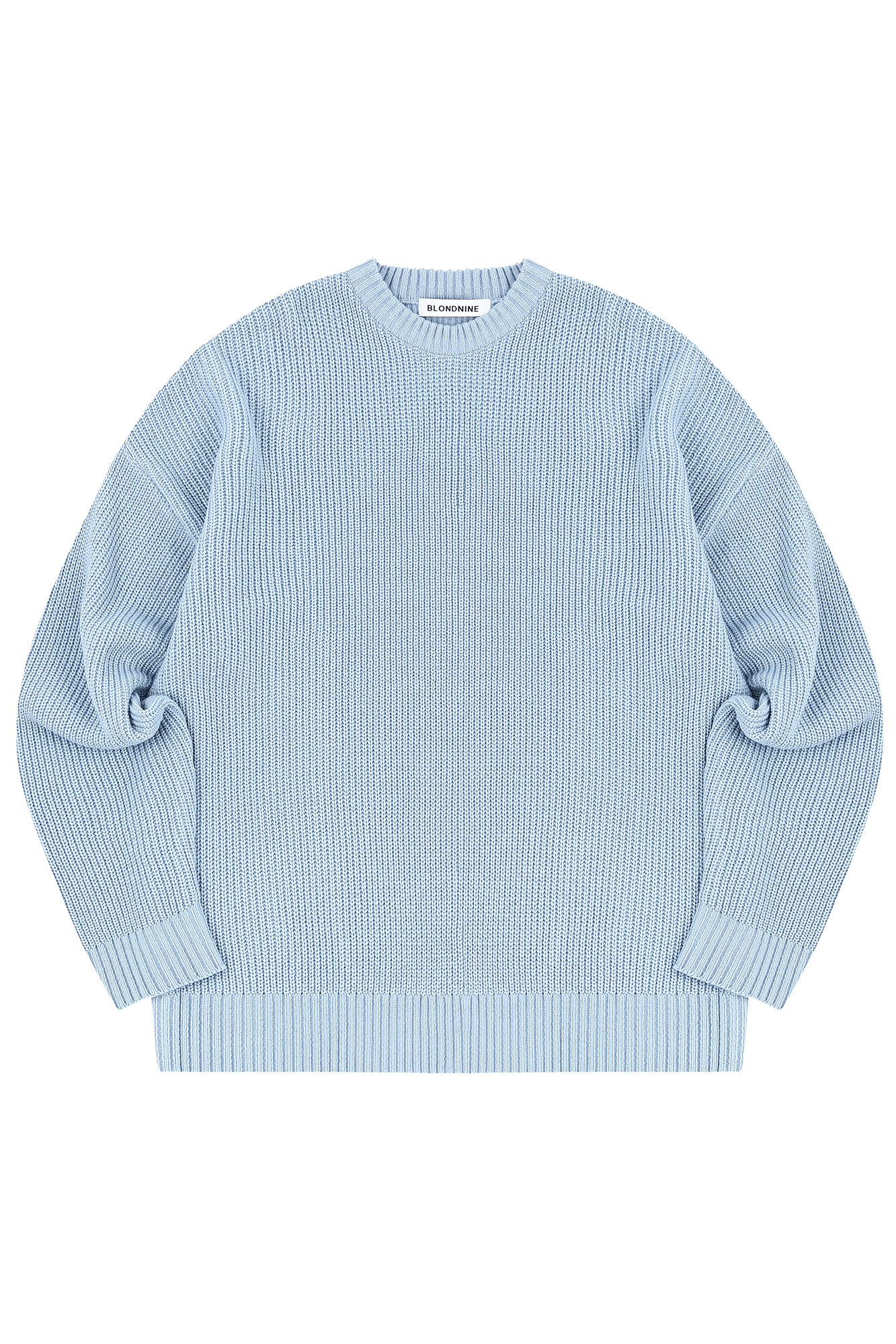 CREW NECK RIB KNIT SWEATER_SKY BLUE