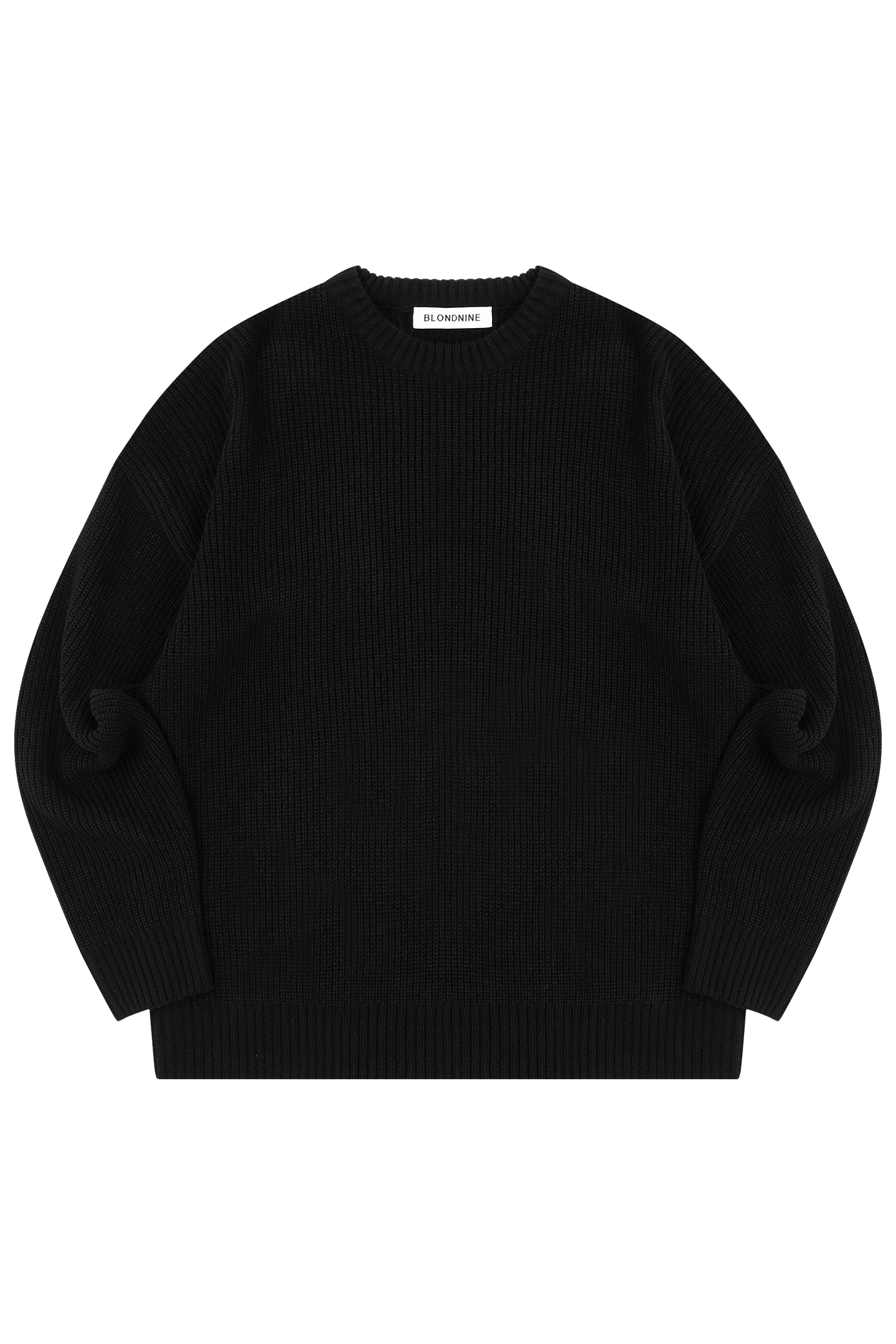 CREW NECK RIB KNIT SWEATER_BLACK