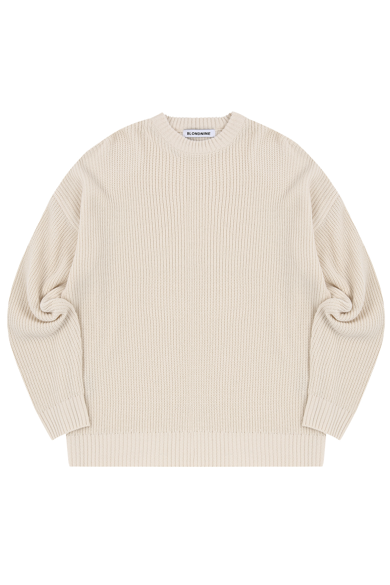 CREW NECK RIB KNIT SWEATER_IVORY